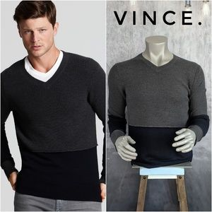 VINCE. 100% Wool Colorblock V-Neck Sweater